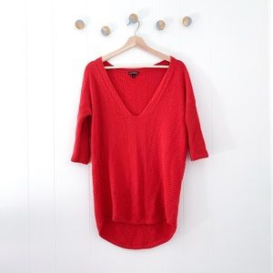 Express v-neck Red Sweater |XS